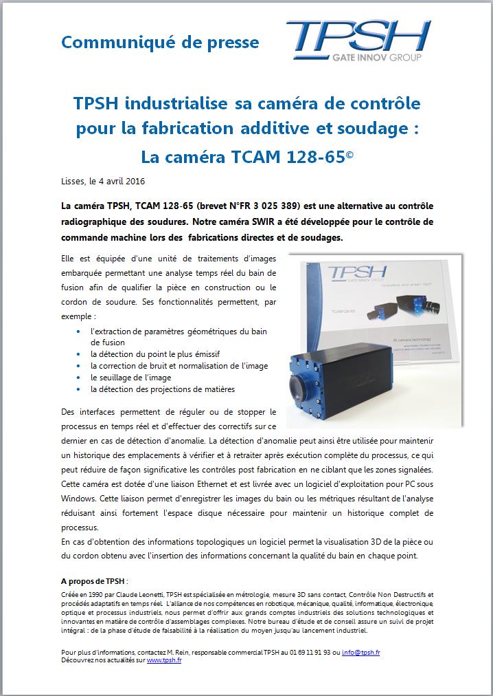 ommuniqué de presse_Caméra TPSH pour fabrication additive et soudage_photo