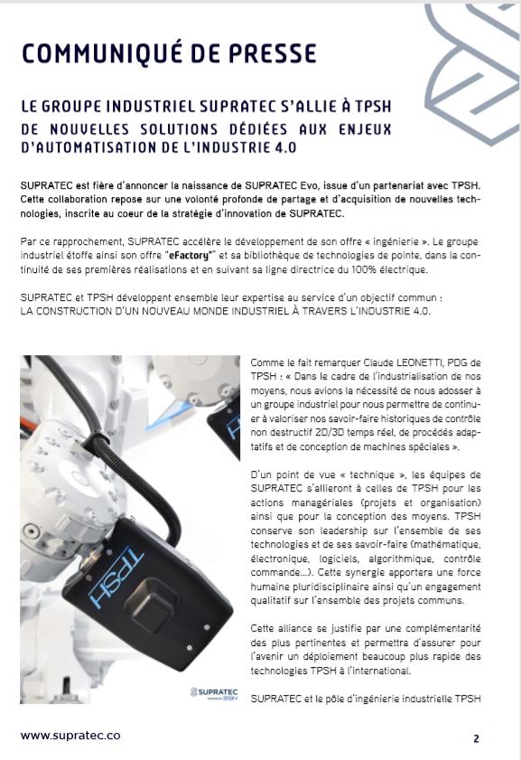 TPSH s'allie au groupe industriel SUPRATEC pour créer SUPRATEC EVO